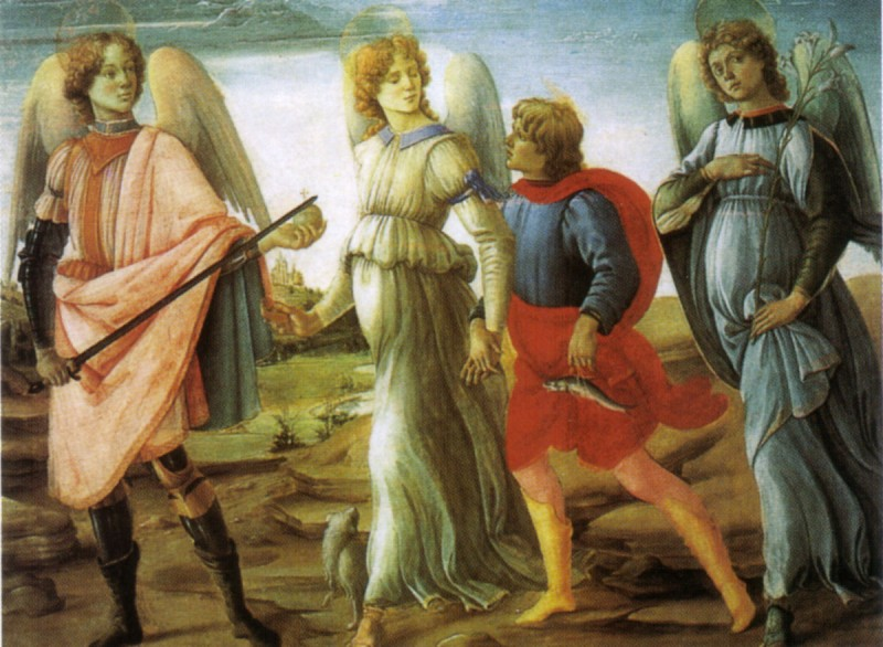 Filippino Lippi, Trije nadangeli in Tobija, 1485 - Foto: Wikipedia